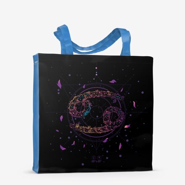 Сумка-шоппер «Цветочный Знак Зодиака Рак»