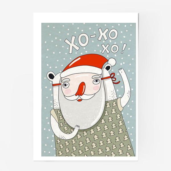 Постер «Медведь в маске деда Мороза»