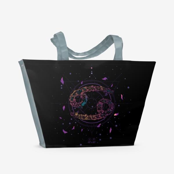 Пляжная сумка «Цветочный Знак Зодиака Рак»
