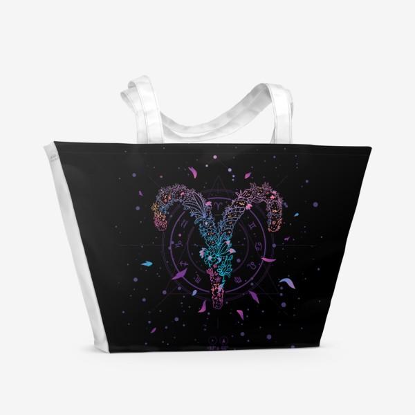 Пляжная сумка «Цветочный Знак Зодиака Овен»