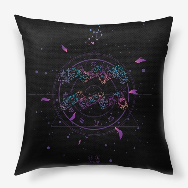 Подушка «Цветочный Знак Зодиака Водолей»