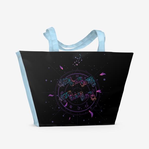 Пляжная сумка «Цветочный Знак Зодиака Водолей»