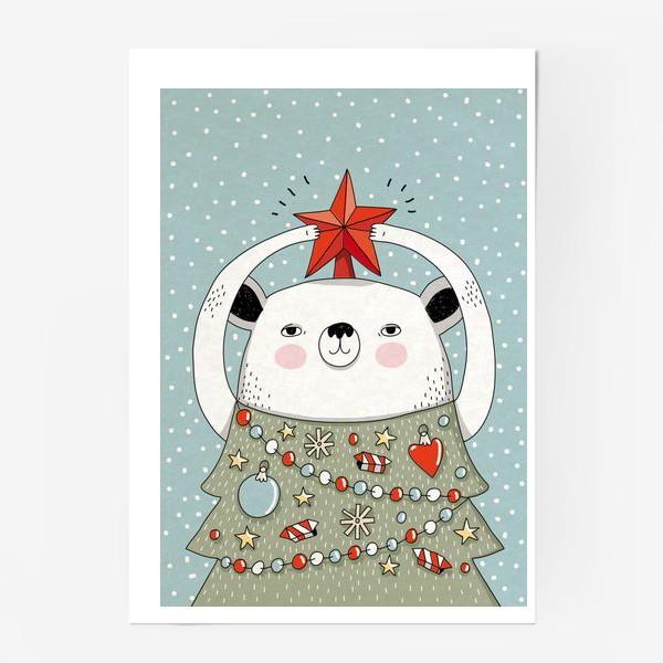 Постер «Мишка праздничная ёлка»