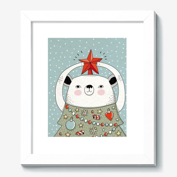 Картина «Мишка праздничная ёлка»
