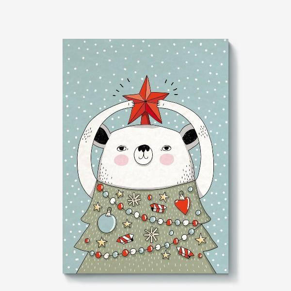 Холст «Мишка праздничная ёлка»