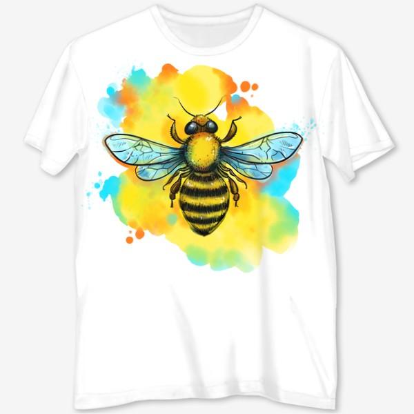 Футболка с полной запечаткой «пчела. акварельная пчелка»