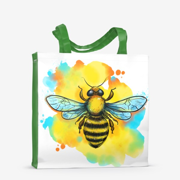 Сумка-шоппер «пчела. акварельная пчелка»