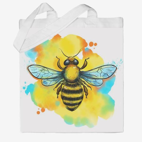 Сумка хб «пчела. акварельная пчелка»