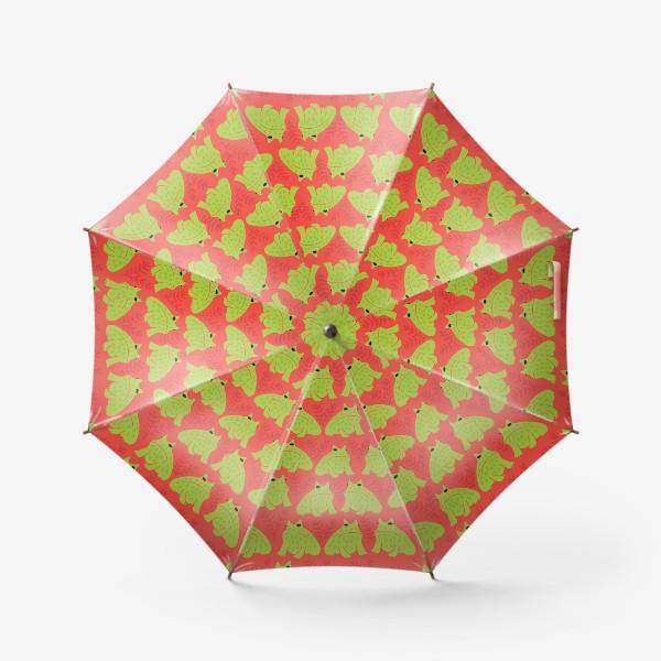 Зонт «Зеленые жабы на красном - недовольные лягушки»