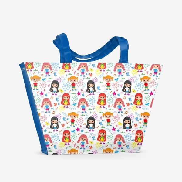 Пляжная сумка «Бесшовный паттерн с веселыми девченками (мелко)»