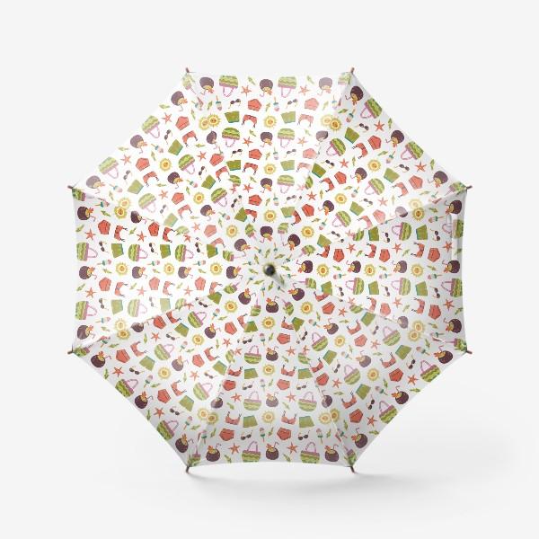 Зонт «Бесшовный паттерн с элементами лета и отпуска»