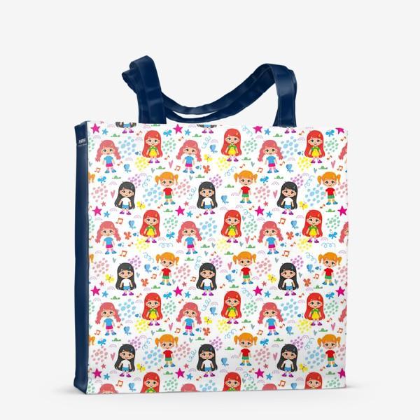 Сумка-шоппер «Бесшовный паттерн с веселыми девченками (мелко)»