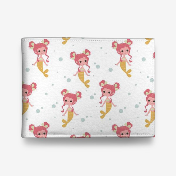 Кошелек «Бесшовный паттерн. Русалочки с розовыми волосами»