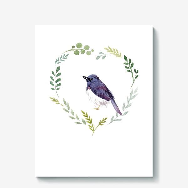 Холст «Птичка в сердце»