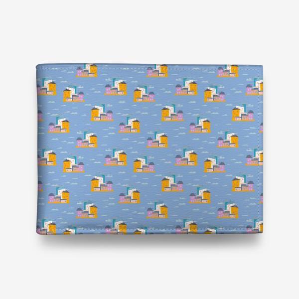 Кошелек «Бесшовный паттерн, дома на голубом фоне (мелкие)»