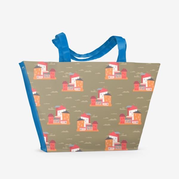 Пляжная сумка «Бесшовный паттерн. Город (бежевый)»