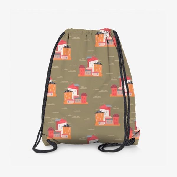 Рюкзак «Бесшовный паттерн. Город (бежевый)»
