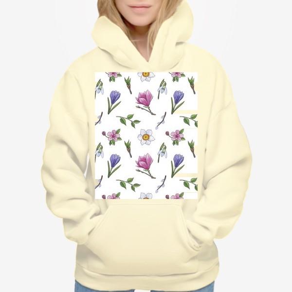 Худи «Весенние цветы паттерн»