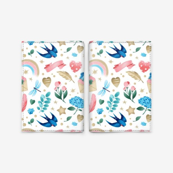 Обложка для паспорта «Бесшовный паттерн. Романтика, ласточки, конверты, стрекозы и цветы»