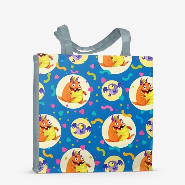 Сумка-шоппер «Бесшовный паттерн с веселыми оранжевыми монстрами»