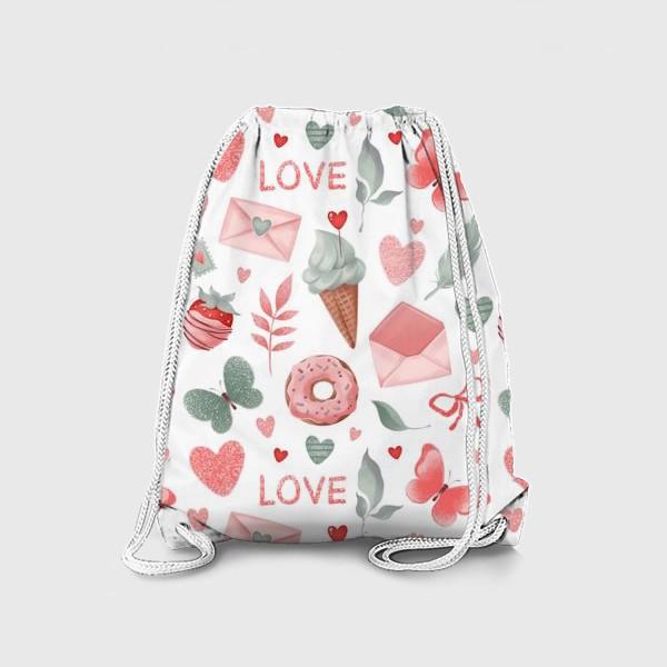 Рюкзак «Бесшовный паттерн. Сладости и конверты»