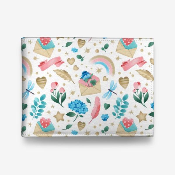 Кошелек «Бесшовный паттерн. Романтика, перья, конверты, стрекозы и цветы»