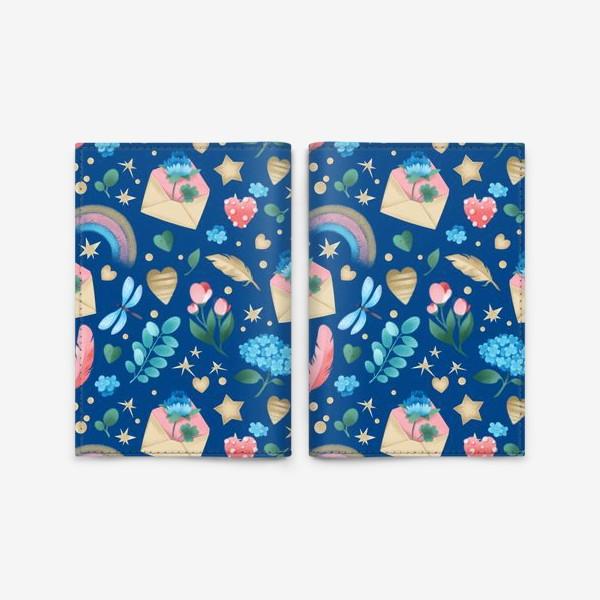 Обложка для паспорта «Бесшовный паттерн. Цветы и любовные письма на синем фоне»