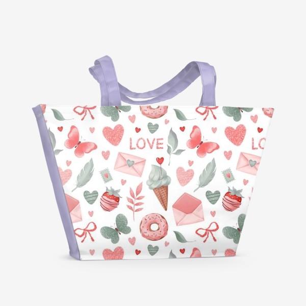 Пляжная сумка «Бесшовный паттерн. Сладости и конверты»