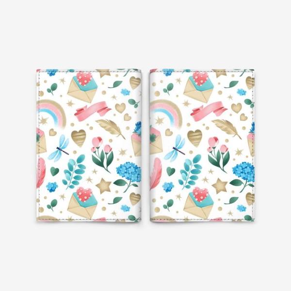 Обложка для паспорта «Бесшовный паттерн. Романтика, перья, конверты, стрекозы и цветы»