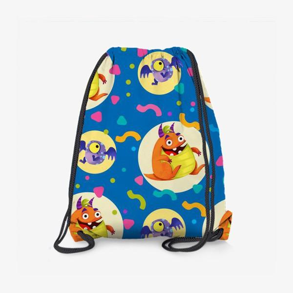 Рюкзак «Бесшовный паттерн с веселыми оранжевыми монстрами»