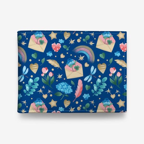 Кошелек «Бесшовный паттерн. Цветы и любовные письма на синем фоне»