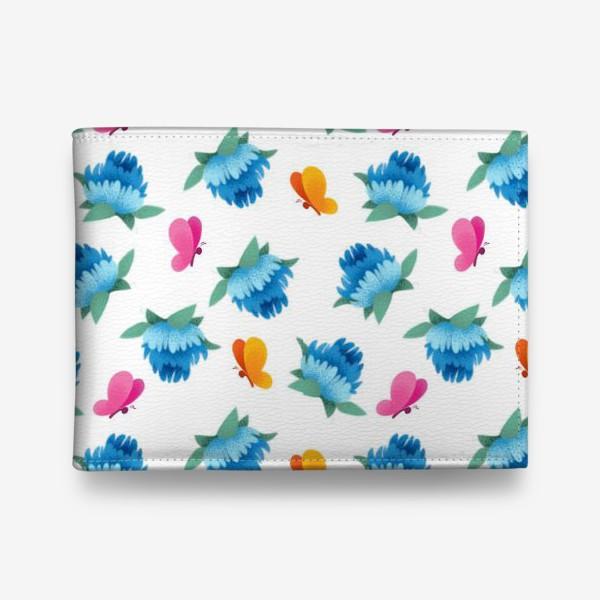 Кошелек «Бесшовный паттерн. Бабочки и цветы»