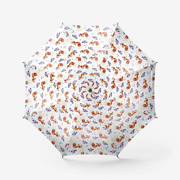 Зонт «Бесшовный паттерн с веселыми полосатыми монстриками»