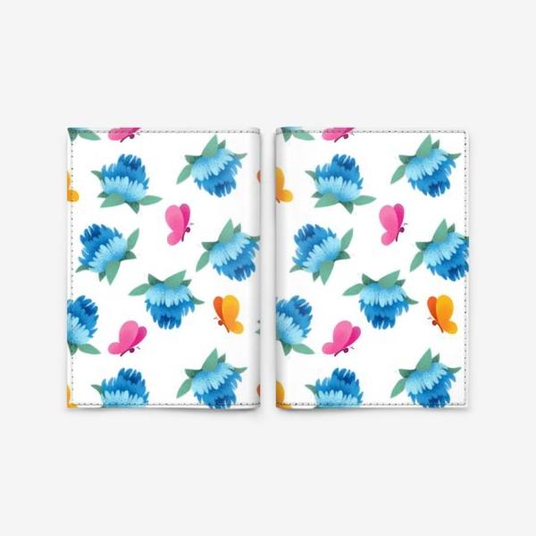 Обложка для паспорта «Бесшовный паттерн. Бабочки и цветы»