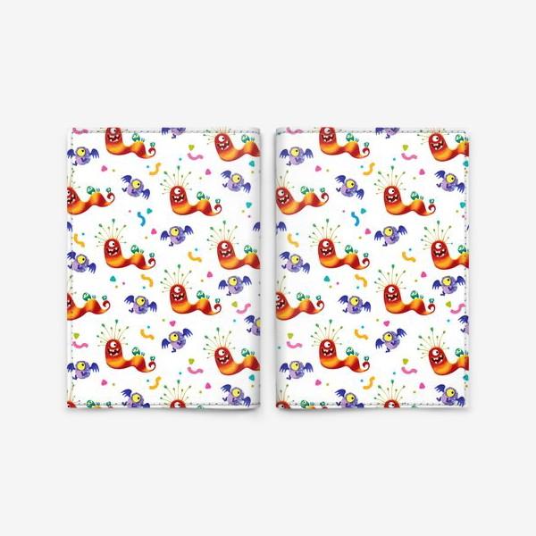 Обложка для паспорта «Бесшовный паттерн с веселыми полосатыми монстриками»