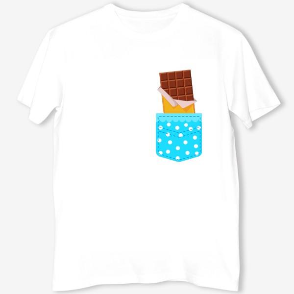 Футболка «Карман в горошек с шоколадкой»