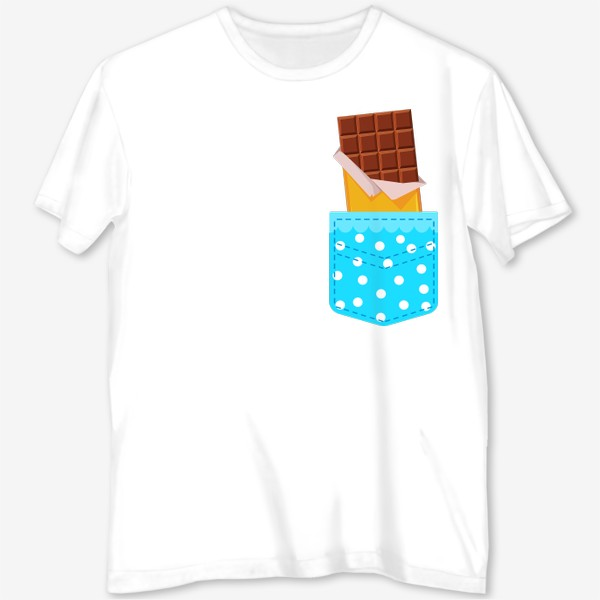 Футболка с полной запечаткой «Карман в горошек с шоколадкой»