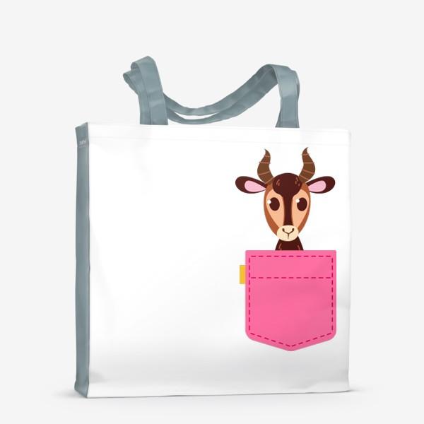 Сумка-шоппер «Кармашек розовый с газелью»