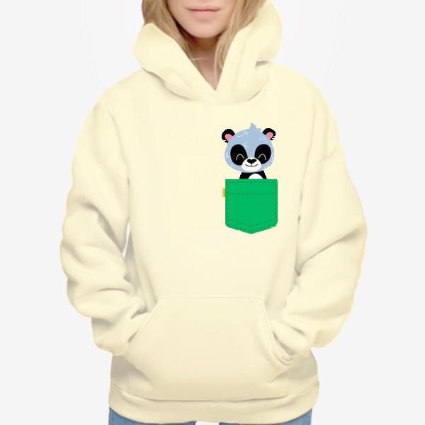 Худи «Карман зеленый с милой пандой»