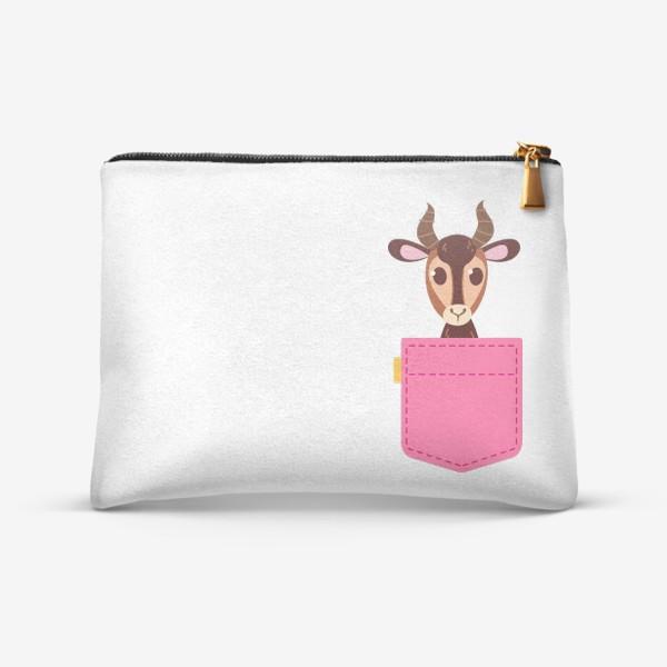Косметичка «Кармашек розовый с газелью»