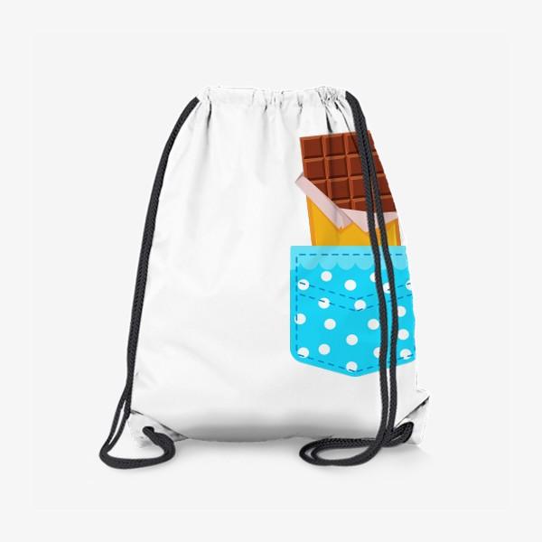 Рюкзак «Карман в горошек с шоколадкой»
