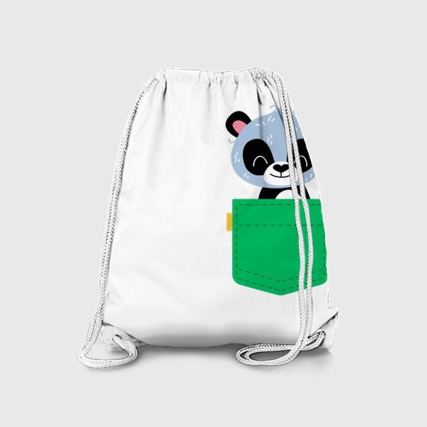 Рюкзак «Карман зеленый с милой пандой»