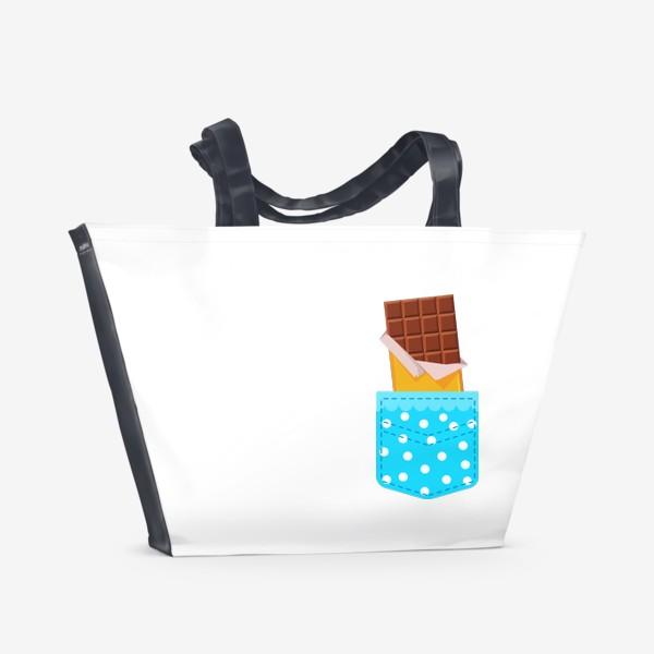 Пляжная сумка «Карман в горошек с шоколадкой»