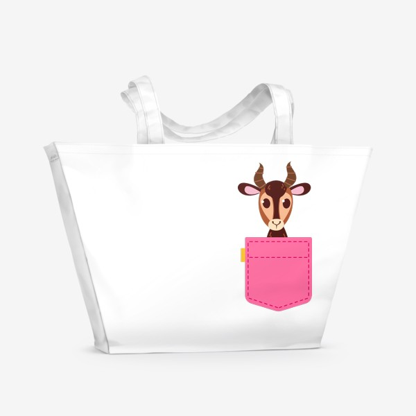 Пляжная сумка «Кармашек розовый с газелью»