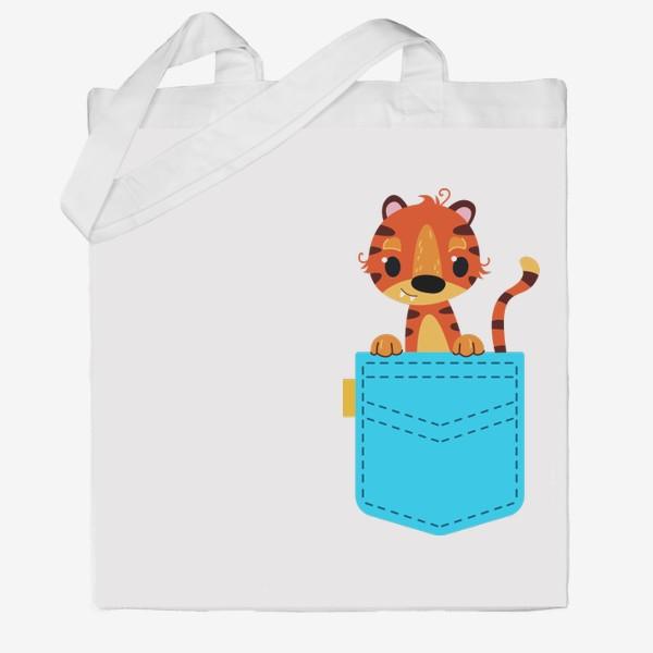 Сумка хб «Нрлубой карман с тигром»