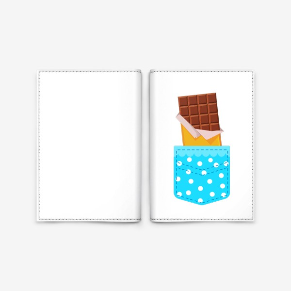 Обложка для паспорта «Карман в горошек с шоколадкой»
