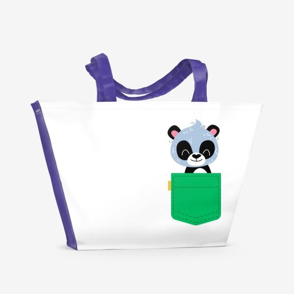 Пляжная сумка «Карман зеленый с милой пандой»