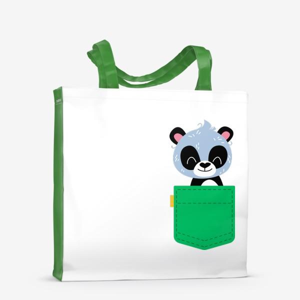 Сумка-шоппер «Карман зеленый с милой пандой»