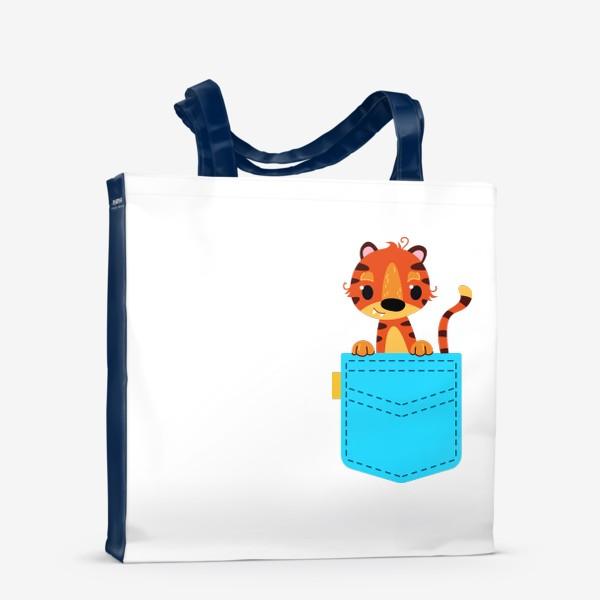 Сумка-шоппер «Нрлубой карман с тигром»