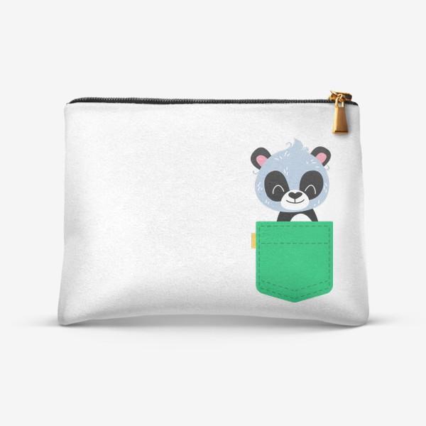 Косметичка «Карман зеленый с милой пандой»